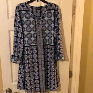 NEW DIRECTION blue print mini dress